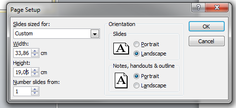 Adjusting the page format in PowerPoint to a 16:9 screen