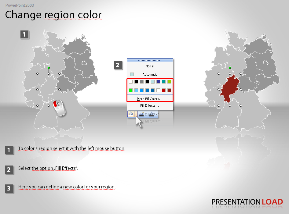 Change  map region color in PowerPoint