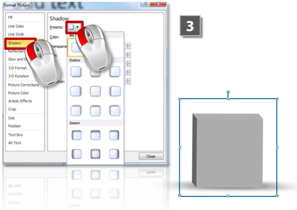 How to add shadows to 3D objects (step 3)