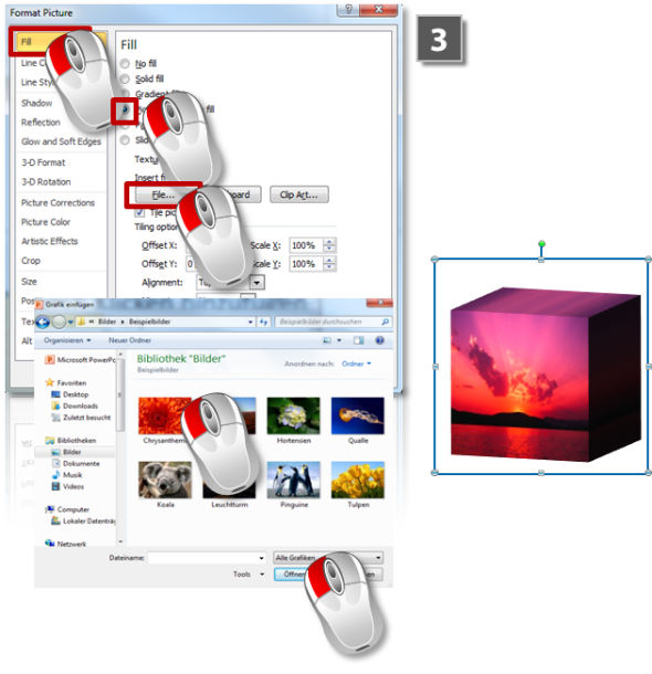 How to fill 3D objects with images (step 3)