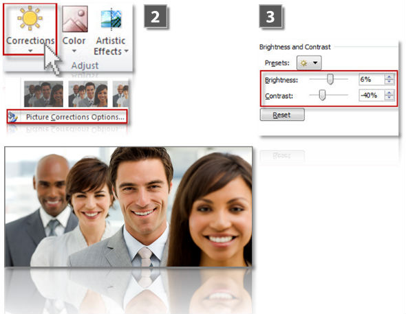 Adjust contrast and brightness of images im PowerPoint (step 2)