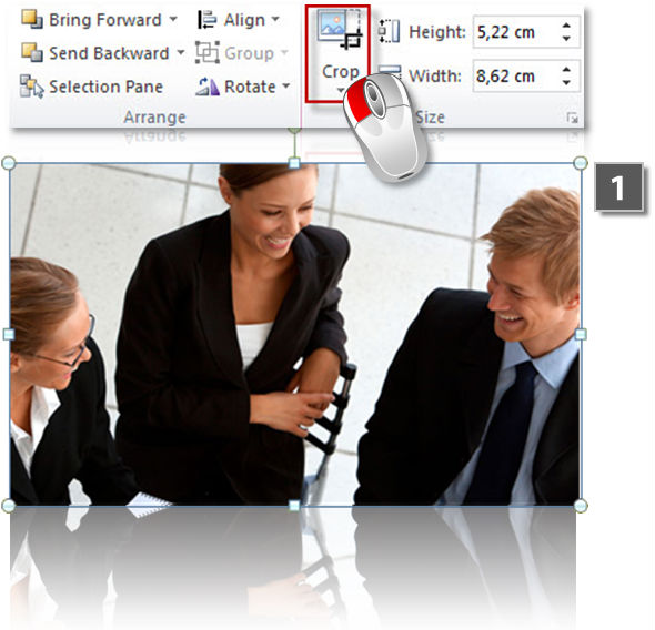 Crop images in PowerPoint (step 1)