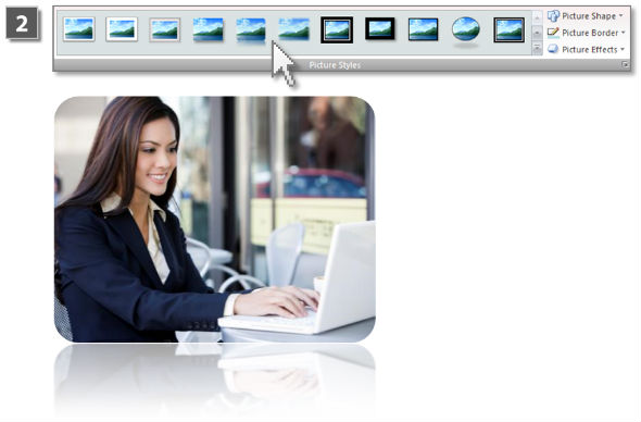 Visual image effects in PowerPoint (step 2)
