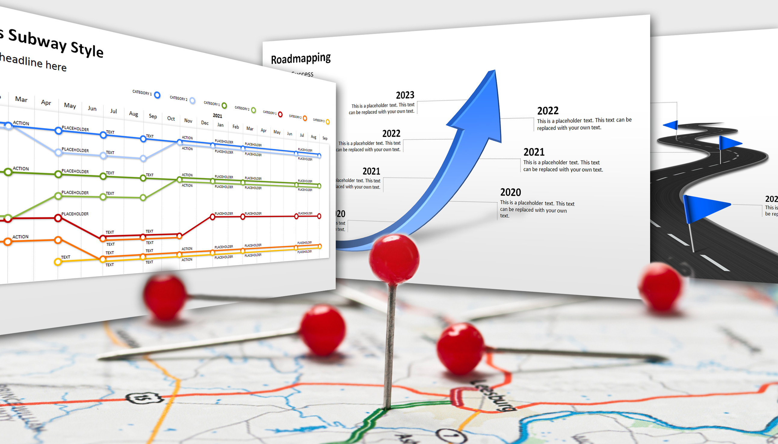 on the road to success with powerpoint roadmap templates, Modern powerpoint