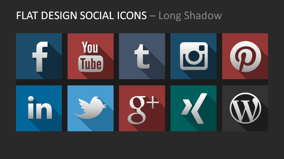 Social Media Long Shadow Icons for PowerPoint