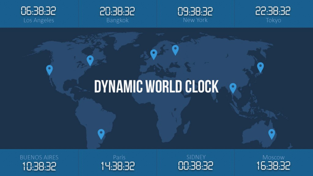 World clock to illustrate different time zones