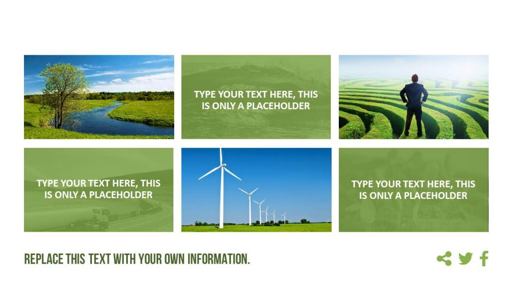 A tile design with images (landscape, nature, ecology) and green text fields.