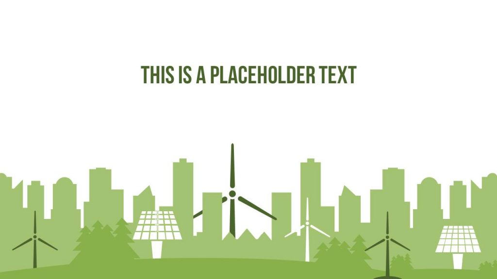 Green flat design graphics signify environmental awareness and sustainability.