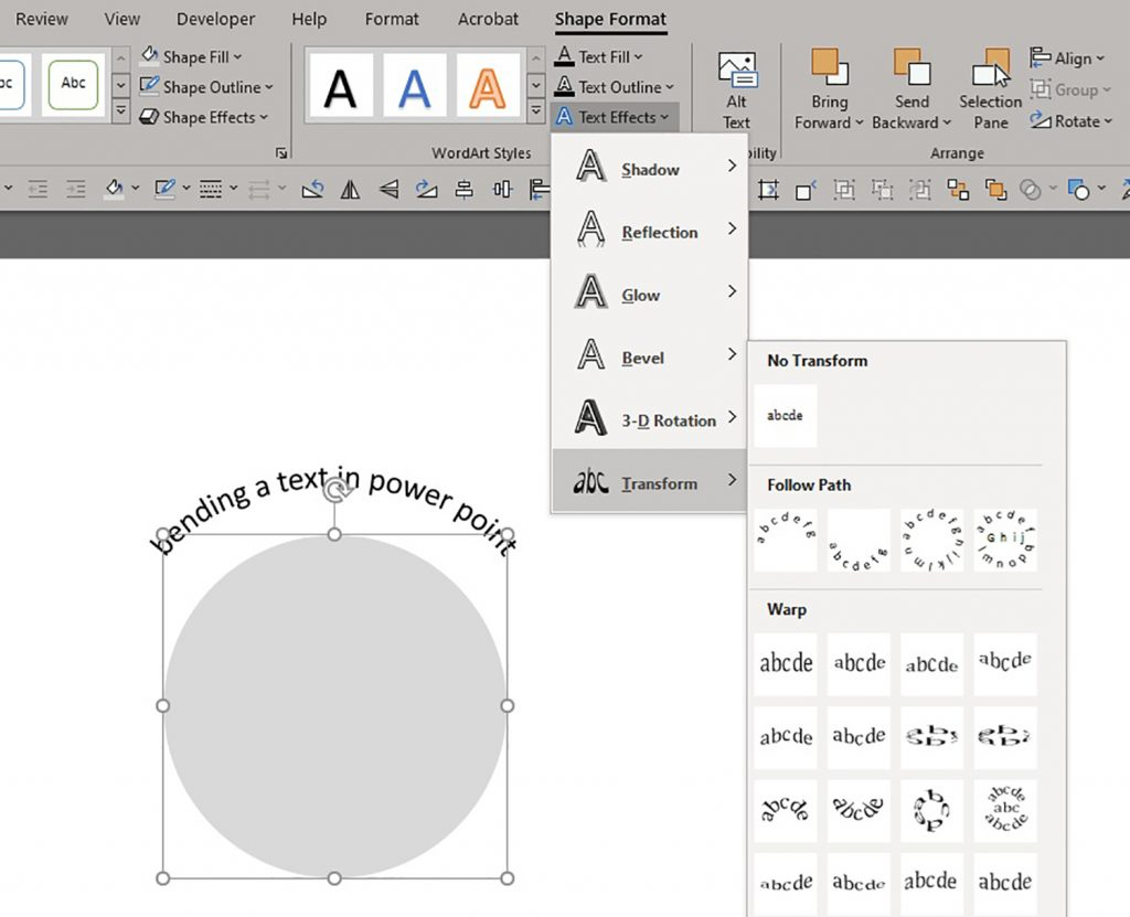 Curved text PowerPoint