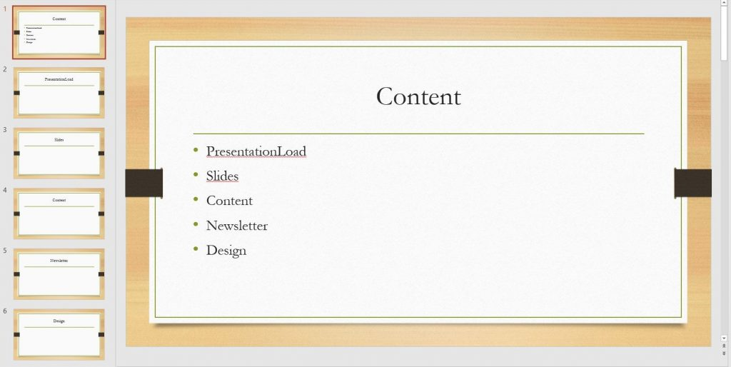 PowerPoint table of contents